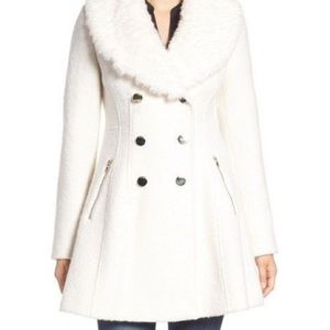 White fit and flare coat with fur